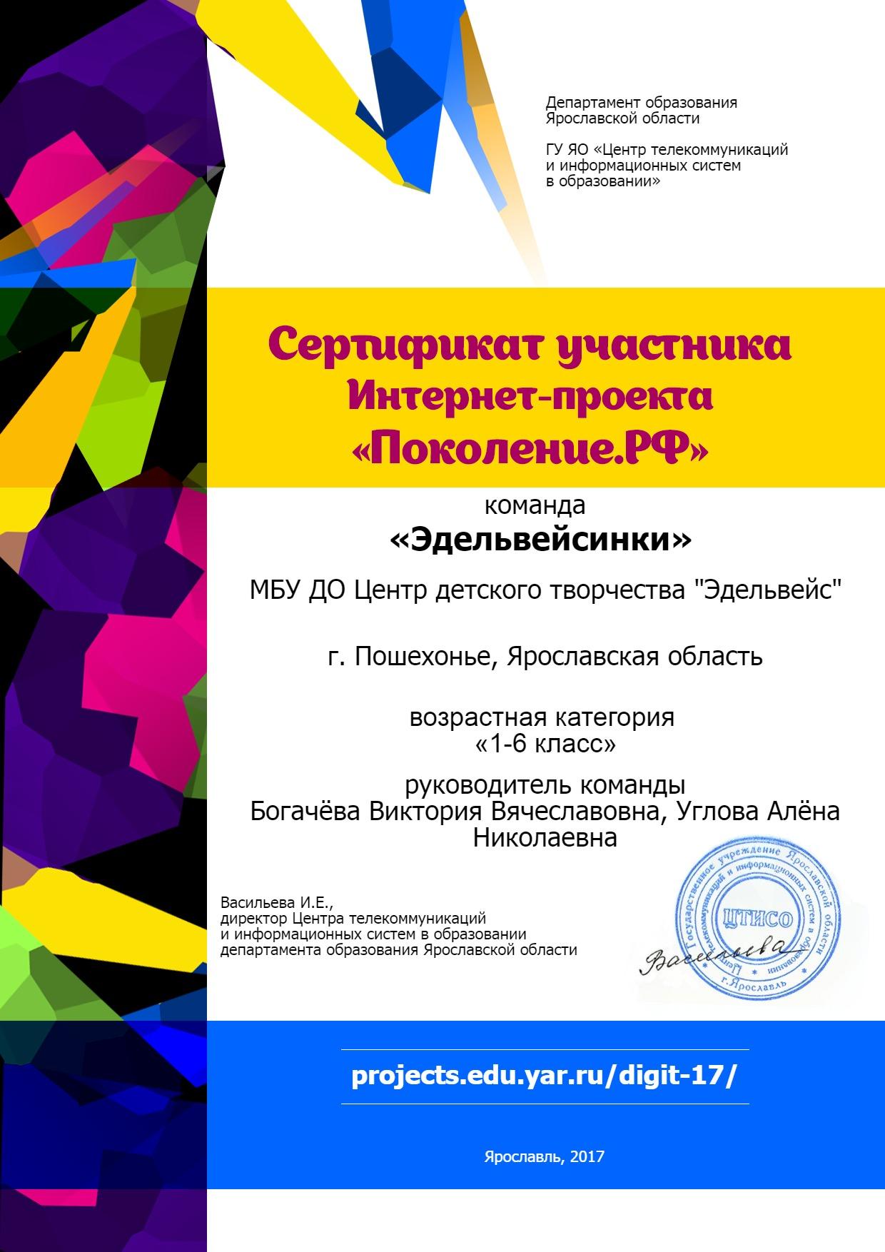 Учреждение Диплом участника iv Международного квеста цифровой грамотности Сетевичок 2017 г