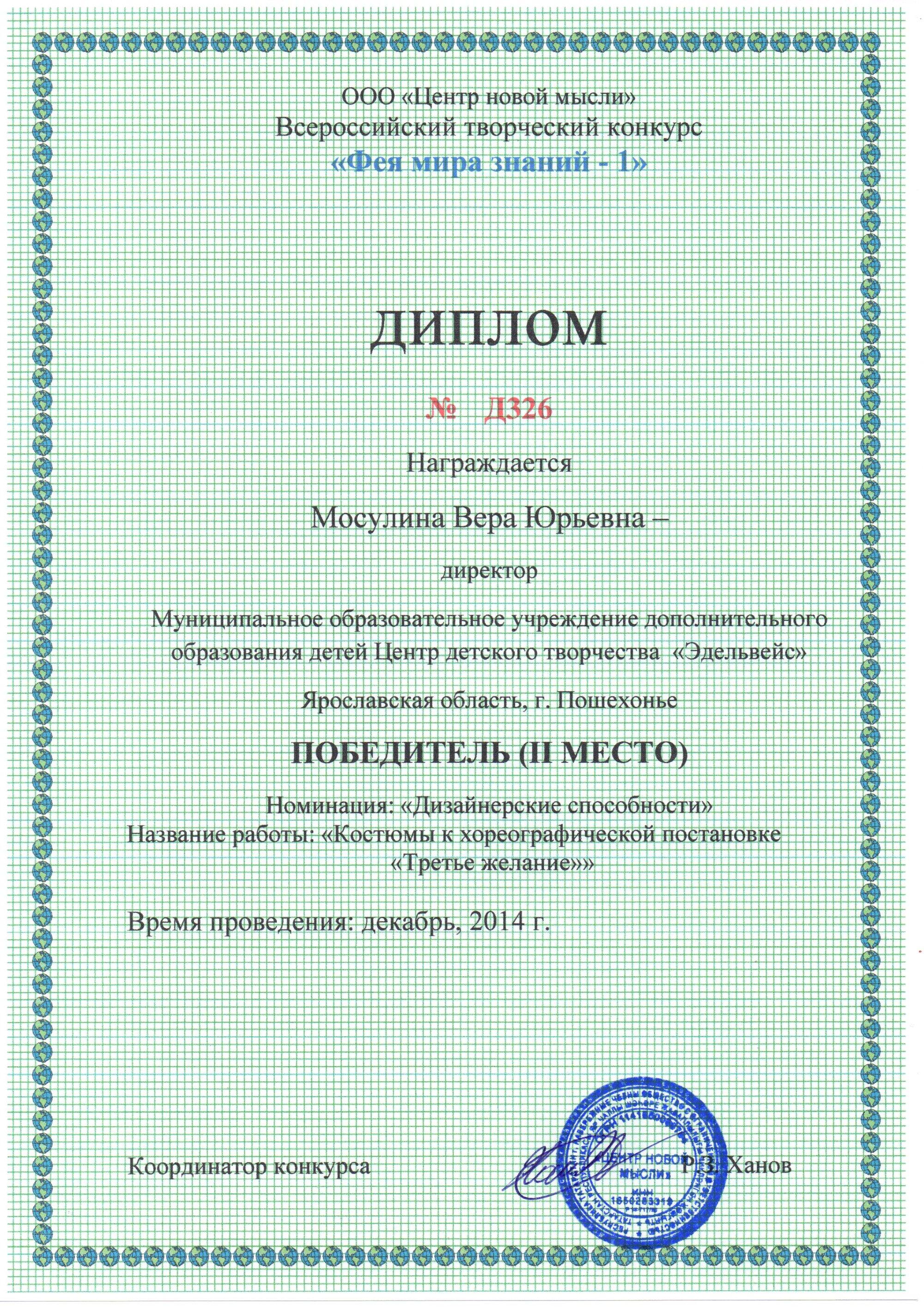 Административный и педагогический персонал Диплом за участие во Всероссийском творческом конкурсе Фея мира знаний 1 Победитель lll место в номинации Дизайнерские способности